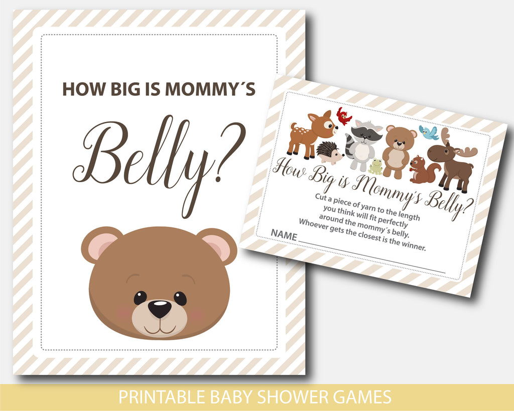 How big is mommy´s belly game with teddy bear and forest friends design, BW7-12