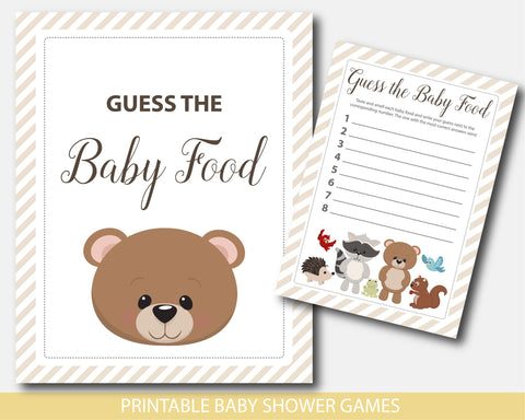 Baby shower food game with teddy bear and raccoon, BW7-13