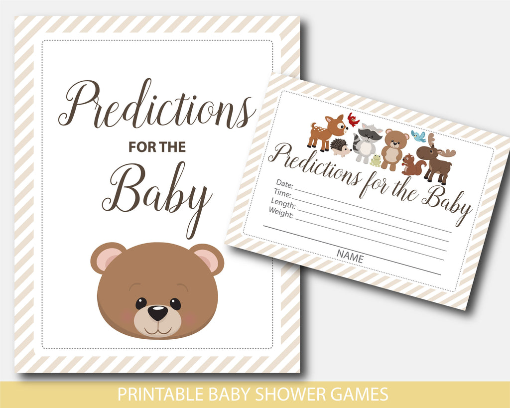 Predictions for the baby cards and sign with teddy bear and other forest animals, BW7-15