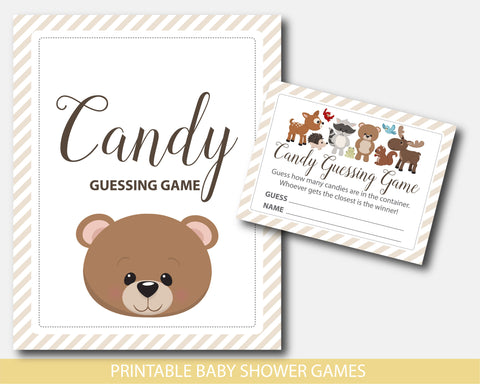 Baby shower candy guessing game with forest animals and a cute bear, BW7-16