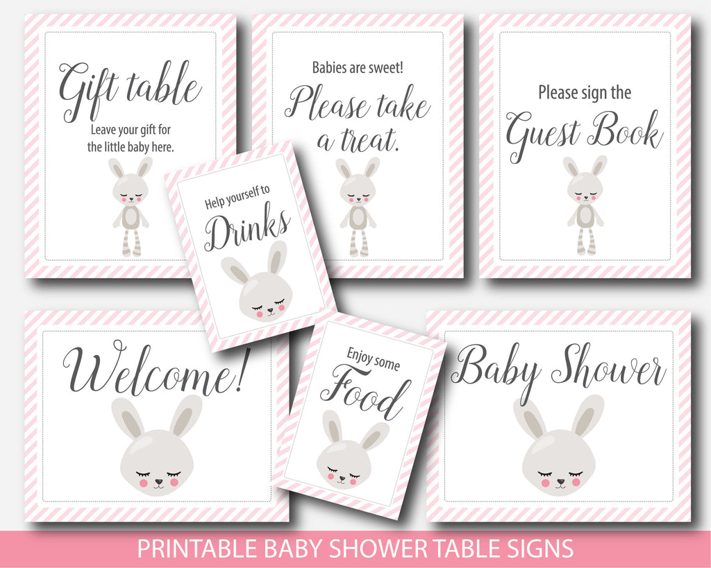 Bunny baby shower table signs, Rabbit baby shower theme decor, BW8-07
