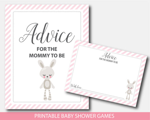 Advice for the mommy to be card and sign, Printable bunny rabbit baby shower theme, BW8-10