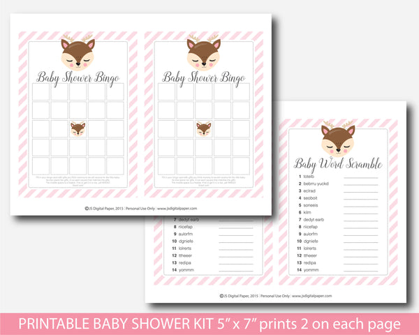 Deer baby shower game set with 5 games, BW9-01