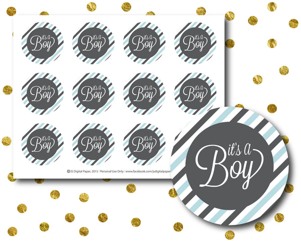Blue Baby shower cupcake toppers, Printable Its a Boy Cupcake topper, Instant download, BY13-10