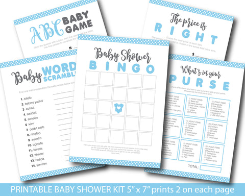 Baby blue baby shower activity games set with baby bingo, word scramble, the price is right, whats in your purse and ABCs, BY149