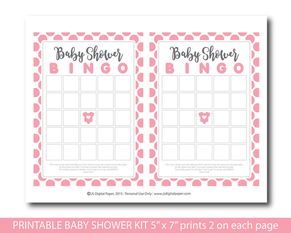 Pink polka dot baby shower activity set with baby bingo, word scramble, the price is right, whats in your purse and ABCs, BY151