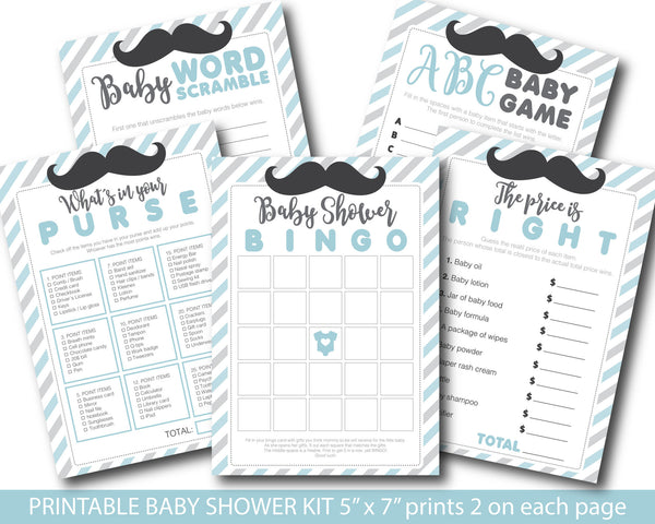 Blue and grey baby shower mustache game package with baby bingo, word scramble, the price is right, whats in your purse and ABCs, BY159