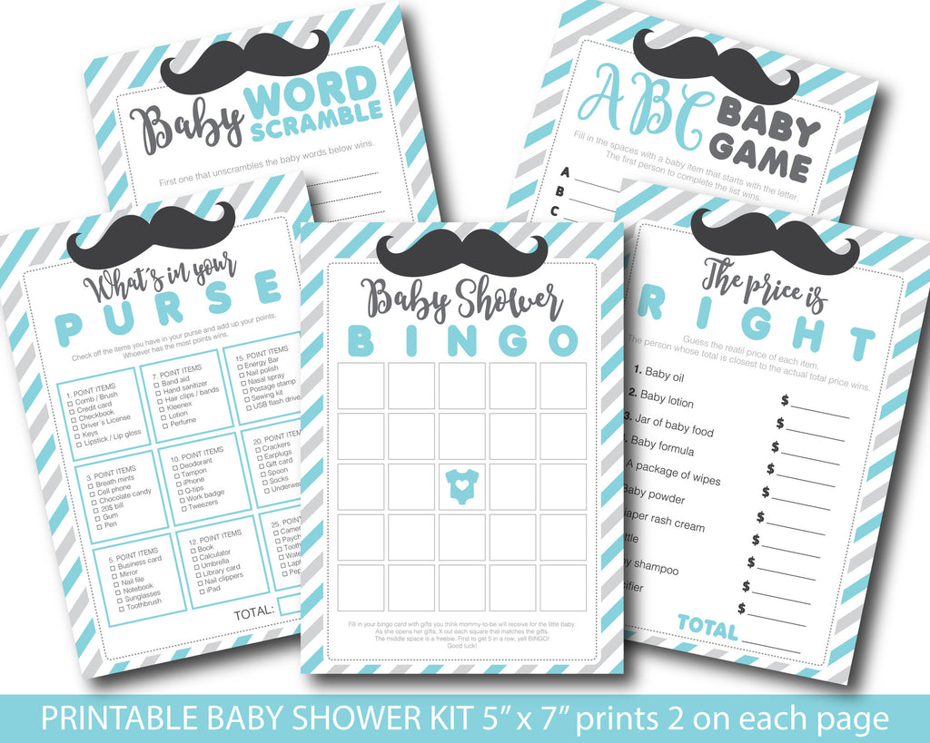 Light turquoise and grey baby shower mustache game package with baby bingo, word scramble, the price is right, whats in your purse and ABCs, BY160