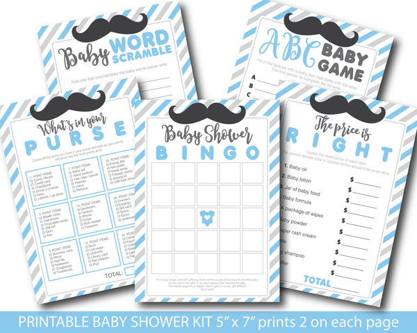 Blue and grey baby shower mustache game set with bingo, word game, the price is right, whats in your purse and ABCs, BY162