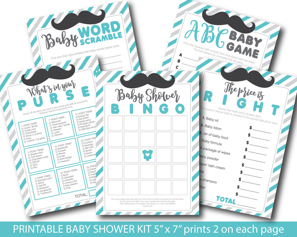 Turquoise and grey baby shower mustache game package with baby bingo, word scramble, the price is right, whats in your purse and ABCs, BY164