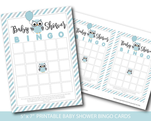 Blue and grey blank owl baby shower bingo cards, BY166