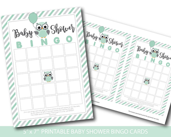 Mint green and grey blank owl baby shower bingo cards, BY168