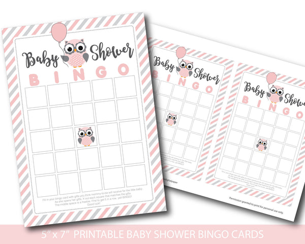 Pink and grey blank owl baby shower bingo cards, BY170