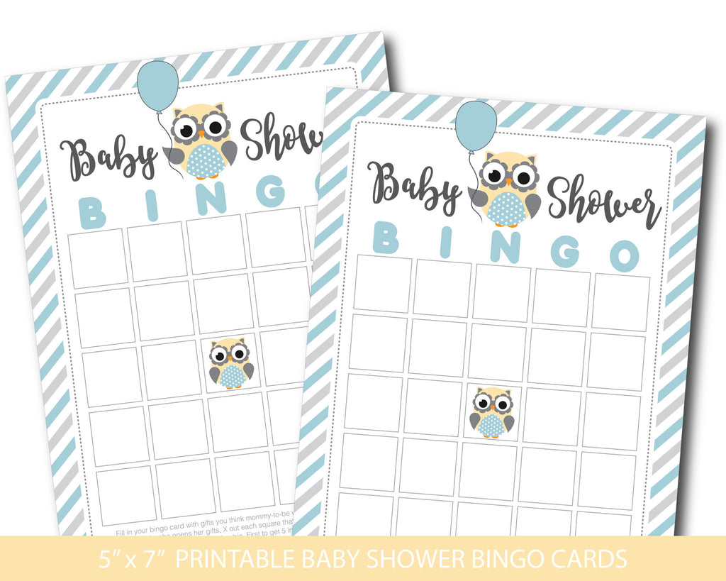 Yellow and blue blank owl baby shower bingo cards, BY172