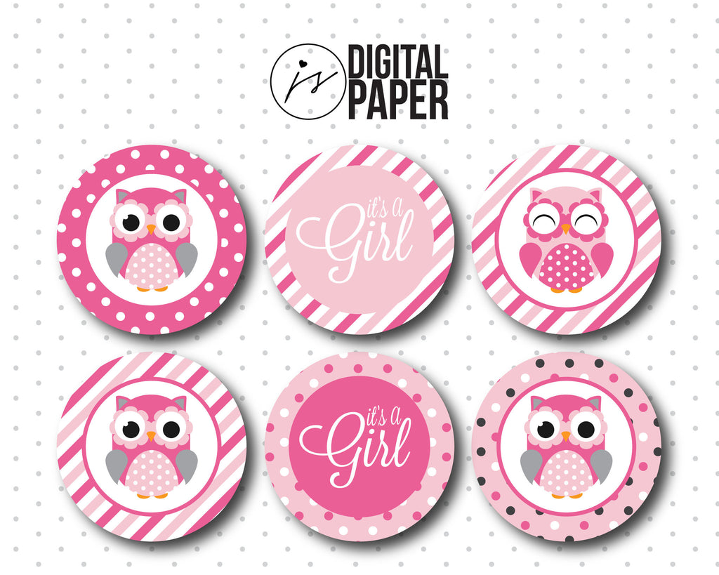 Pink baby shower cupcake toppers owl cupcake toppers for Baby shower cupcake picks decoration