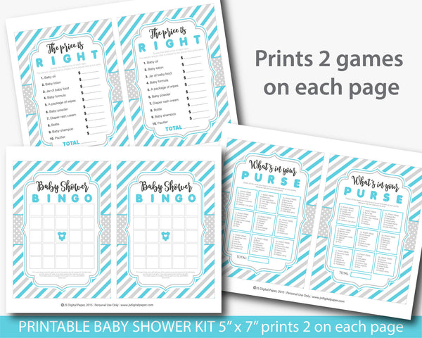 Turquoise baby shower game set with stripes and 5 games, BY203