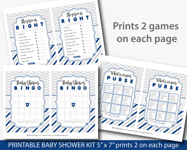 Navy blue baby shower game package, Navy blue baby shower set with 5 printable baby games, BY207