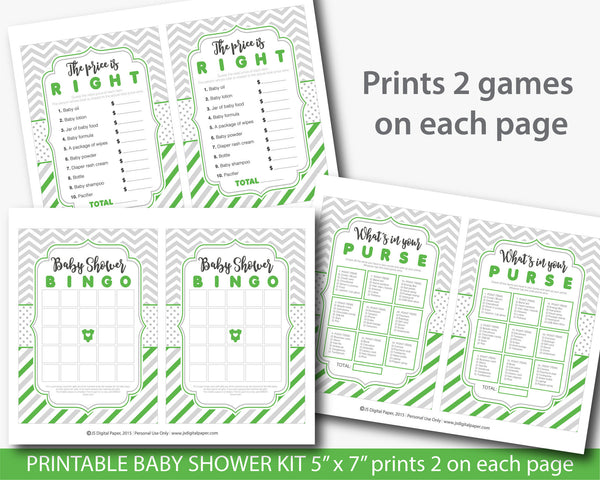 Green baby shower game package, Green baby shower set with 5 printable baby games, BY210