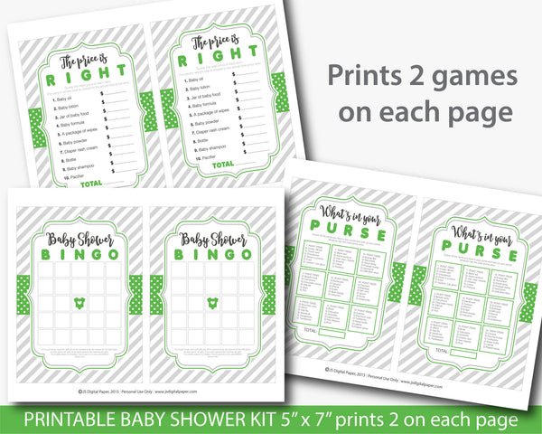 Green baby shower games set with 5 printable baby games, BY211