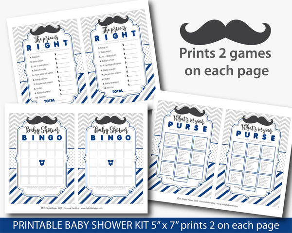 Navy mustache baby game kit with Bingo, ABCs, Word scramble, Purse game and the Price is right, Mustache baby shower games, BY216