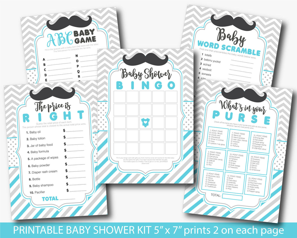 Turquoise mustache baby game kit with Bingo, ABCs, Word scramble, Purse game and the Price is right, Mustache baby shower games, BY218