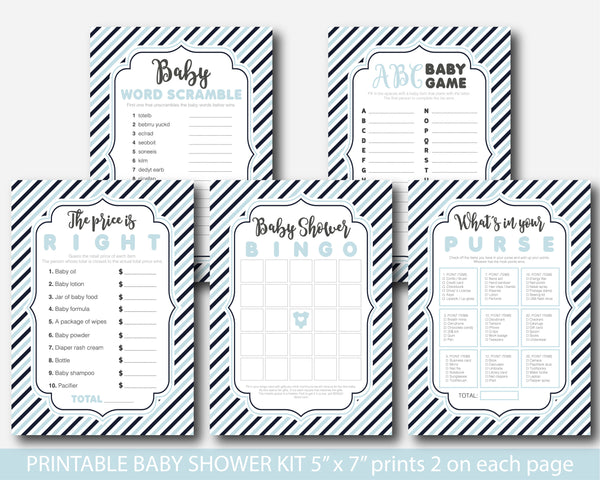 Baby blue and navy blue stripes baby shower game set with 5 games, bingo, word scramble, ABCs, the price is right and what´s in your purse, BY223