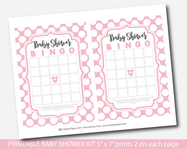 Pink polka dot baby shower game set with 5 games, bingo, word scramble, ABCs, the price is right and what´s in your purse, BY226