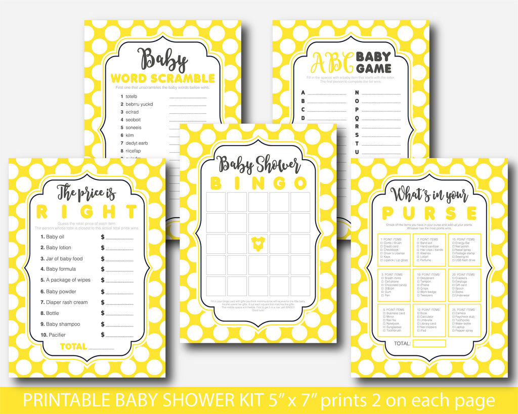 Yellow polka dot baby shower game set with 5 games, bingo, word scramble, ABCs, the price is right and what´s in your purse, BY227