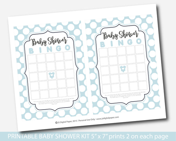 Baby blue polka dot baby shower game set with 5 games, bingo, word scramble, ABCs, the price is right and what´s in your purse, BY229