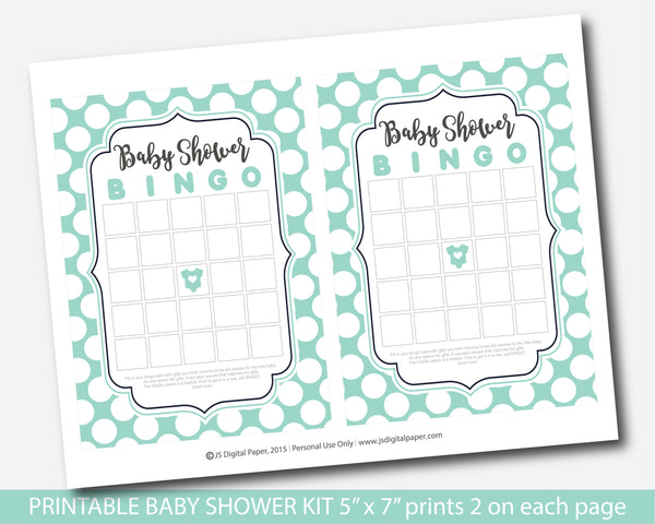 Mint green polka dot baby shower game set with 5 games, bingo, word scramble, ABCs, the price is right and what´s in your purse, BY233