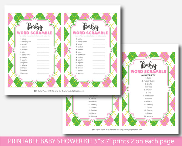 Pink and green baby shower game set with argyle design, BY238