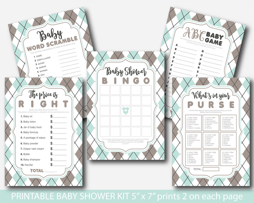 Brown and mint baby shower game package with argyle pattern design, BY243