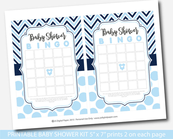 Baby blue and navy blue printable baby shower game set with chevron and big polka dots, BY247
