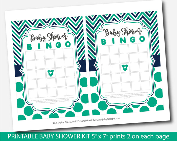 Green and navy blue printable baby shower game set with chevron and big polka dots, BY249