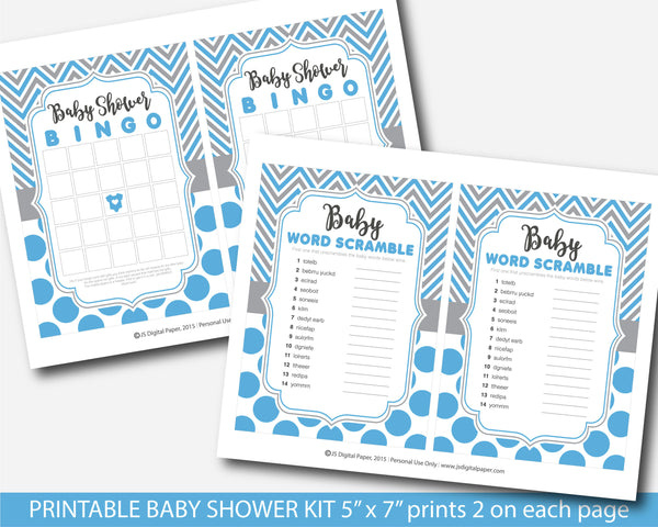Blue and gray printable baby shower game set with chevron and big polka dots, BY251