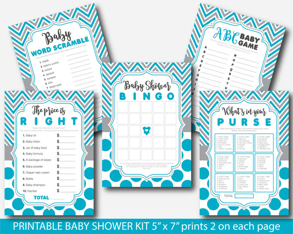 Turquoise and gray printable baby shower game set with chevron and big polka dots, BY253
