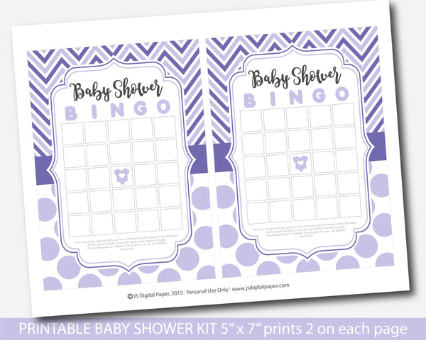 Purple printable baby shower game set with chevron and big polka dots, BY255