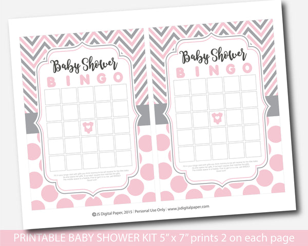 Pink and gray printable baby shower game set with chevron and big polka dots, BY257