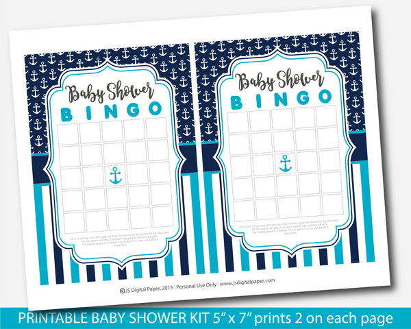Turquoise and navy blue nautical baby shower game set, BY260
