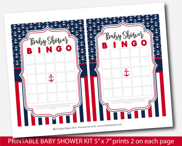 Red and navy blue nautical baby shower game set, BY265