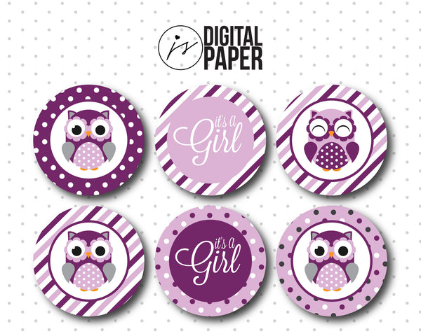 Purple baby shower cupcake toppers, Owl cupcake toppers, Purple Printable cupcake topper, Its a girl cupcake topper, BY5-02