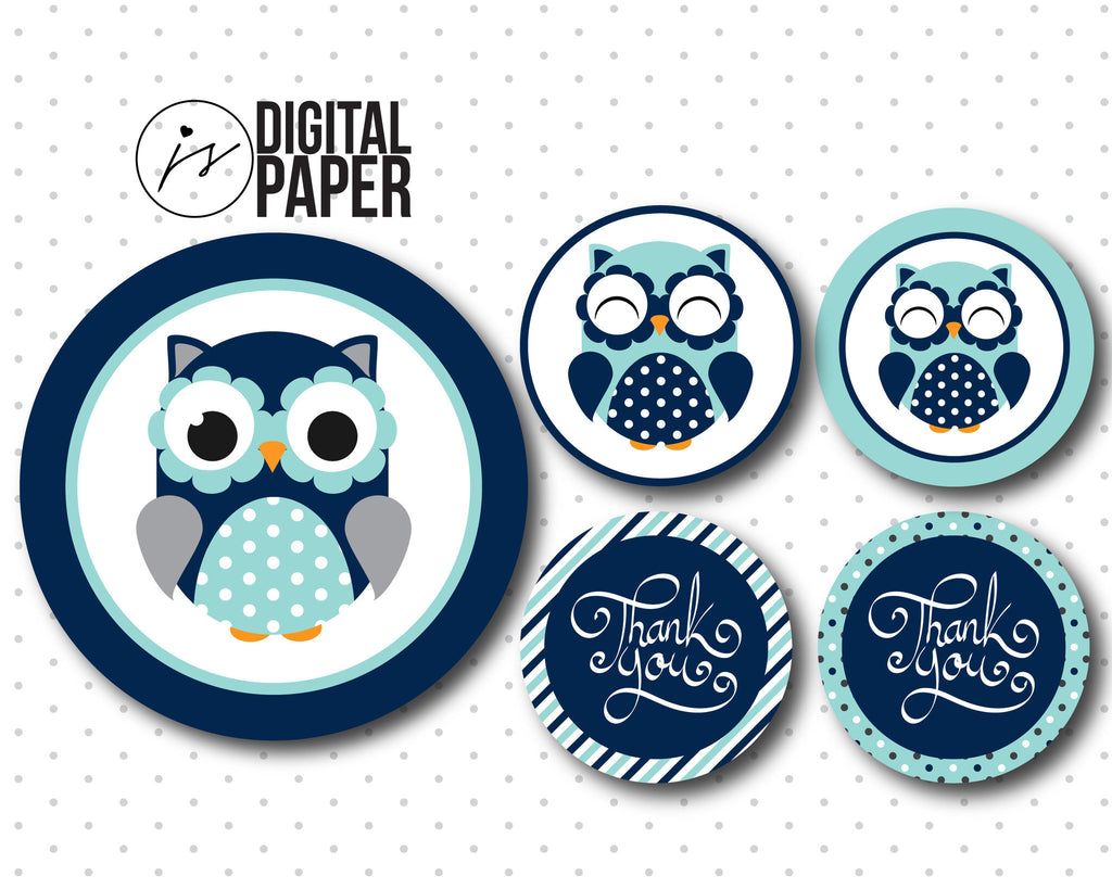 Mint Blue Baby Shower Tags, Blue Thank You Favor Tag, Owl Favor Tags,