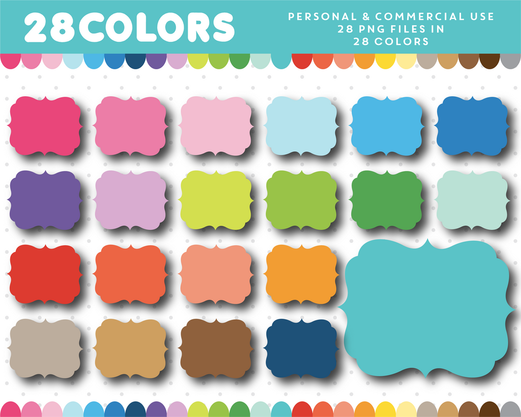 Square scrapbooking frame clipart in 28 colors, CL-10