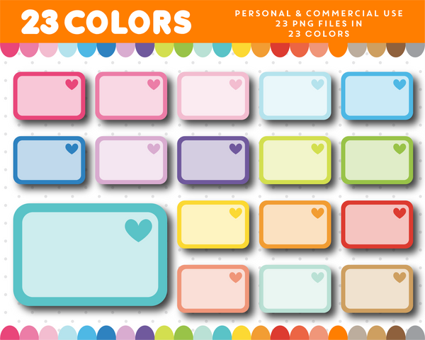 Heart half box clipart in rainbow colors, CL-1006