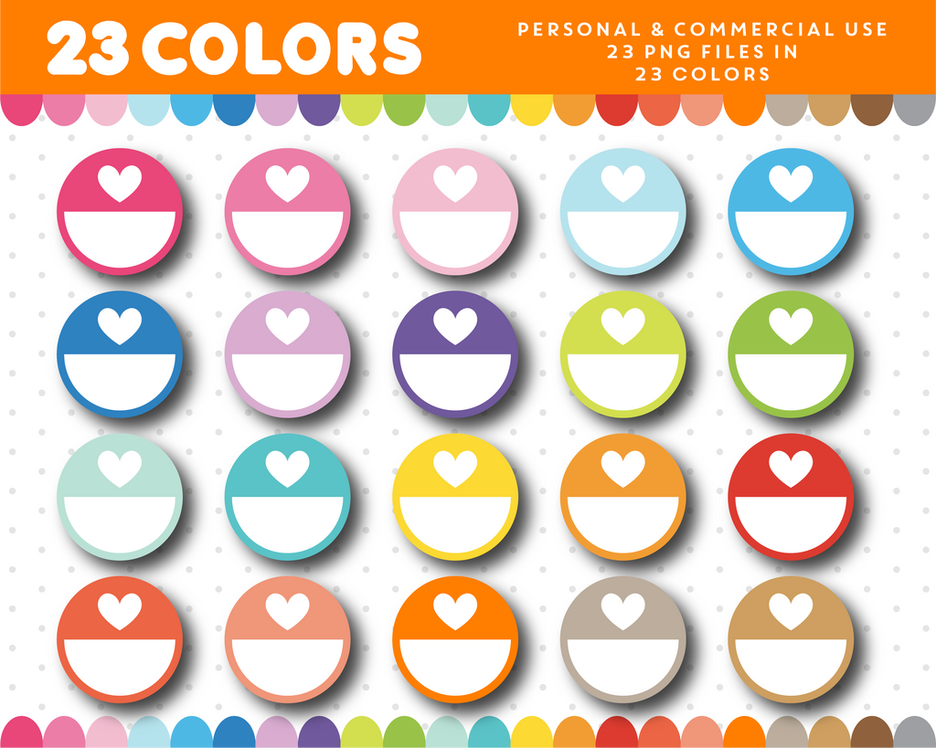 Half circles with heart clipart, CL-1012