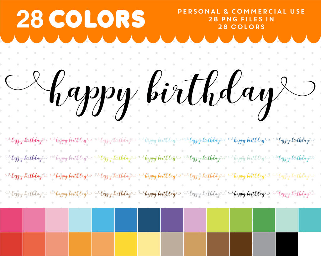 Happy Birthday script font clipart, Happy Birthday text planner clipart, CL-1060