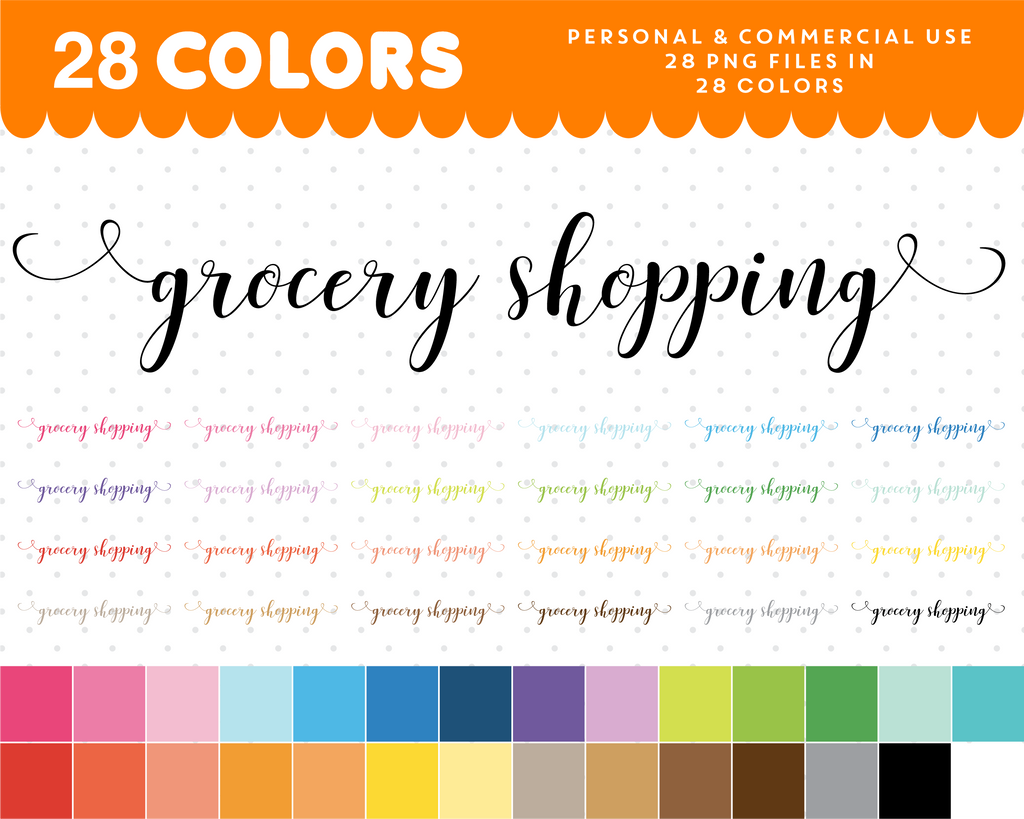 Grocery shopping script font clipart, Grocery shopping text planner clipart, CL-1070