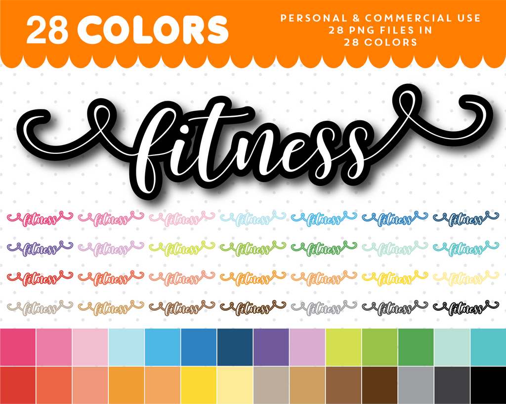 Fitness typography clipart, Fitness overlay clipart text, Fitness cursive handwriting clipart, CL-1080