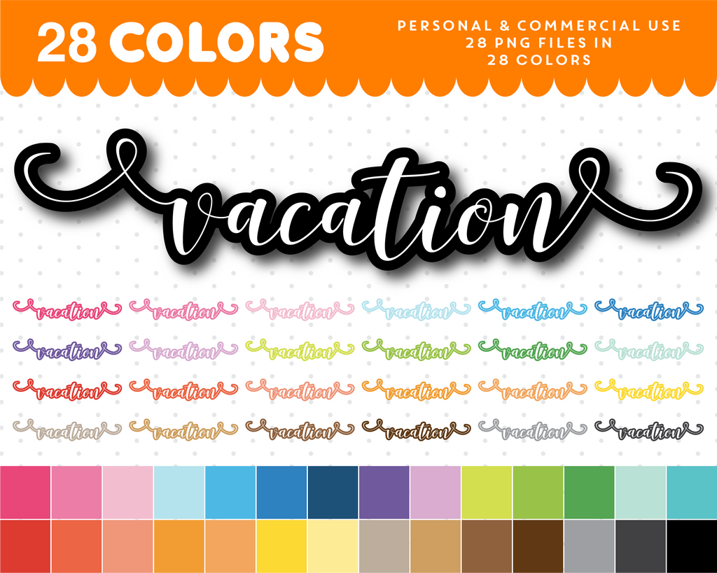 Vacation typography clipart, Vacation overlay clipart text, Vacation cursive handwriting clipart, CL-1090
