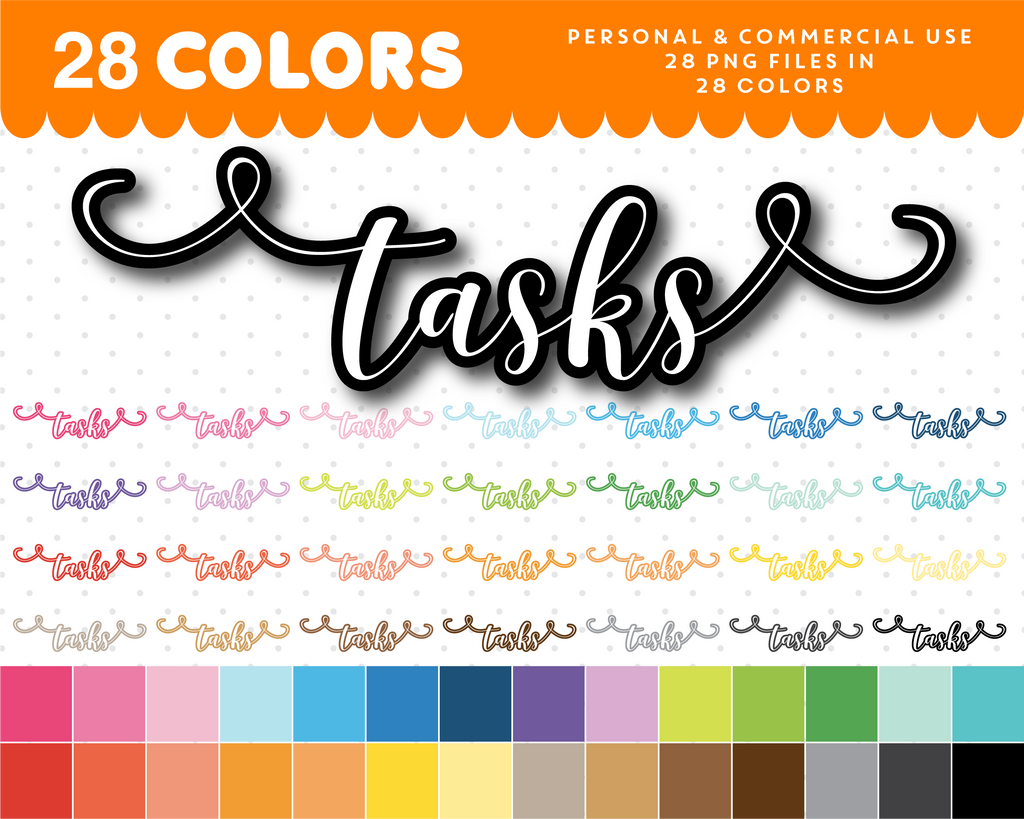 Tasks typography clipart, Tasks overlay clipart text, Tasks cursive handwriting clipart, CL-1096